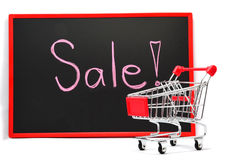 Shopping cart with chalk written word Royalty Free Stock Photo