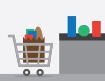 Shopping Cart Checkout. Full shopping cart at store checkout Royalty Free Stock Photo