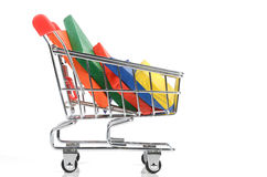 Shopping cart and chinese tangram Stock Photos