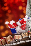 Shopping cart christmas advertisement Stock Images