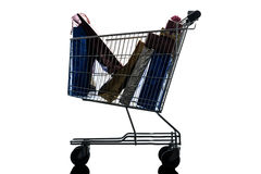Shopping cart with christmas gifts silhouette Stock Image