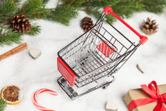 Shopping cart at christmas Stock Photo
