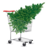 Shopping cart with Christmas tree Stock Photos