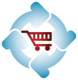 Shopping cart with circle arrows Royalty Free Stock Photos
