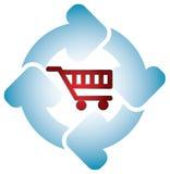 Shopping cart with circle arrows Royalty Free Stock Photos