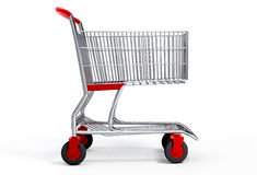 Shopping cart with clipping path. Shopping cart 3d over white background with  clipping path Royalty Free Stock Photo