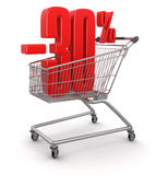 Shopping Cart and -30% (clipping path included) Royalty Free Stock Images