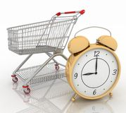 Shopping cart with clock Stock Photography