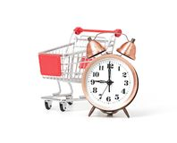 Shopping cart with clock Royalty Free Stock Photos