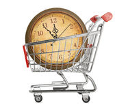 Shopping cart with clock Stock Image
