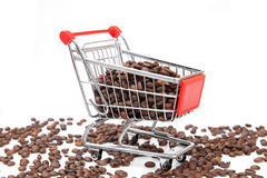 The shopping cart with coffee beans Stock Photos