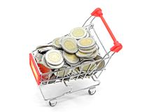 Shopping cart coins Stock Photos