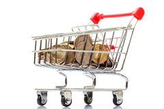 Shopping Cart with Coins Royalty Free Stock Photos
