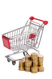 Shopping cart and coins Royalty Free Stock Image