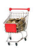 The shopping cart with coins Royalty Free Stock Photo