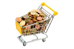 Shopping cart with coins Stock Photography