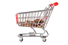 Shopping Cart with coins V2. Shopping Cart with coins isolated on white background Royalty Free Stock Image