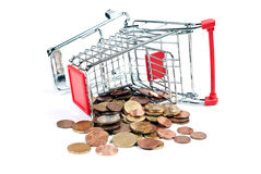 Shopping Cart with coins V5. Shopping cart with coins isolated on white background Royalty Free Stock Photo