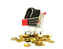 Shopping Cart with Coins and Wallet Royalty Free Stock Photo