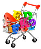 Shopping cart with color alphabet. Stock Image