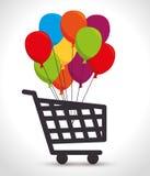 Shopping cart colored balloons bunch Royalty Free Stock Photos