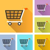 Shopping cart colorful icons. Illustration of shopping cart colorful design icons Royalty Free Stock Photography