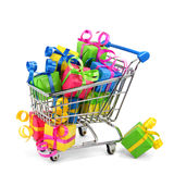 Shopping Cart With Colorful Presents Stock Photography
