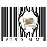 Shopping cart coming out of barcode Stock Images