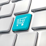 Shopping cart computer key Stock Photography