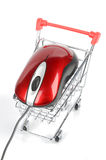 Shopping cart and computer mouse Stock Images