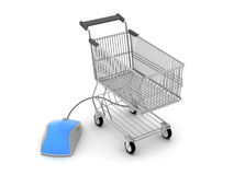 Shopping cart and computer mouse. On white background stock illustration