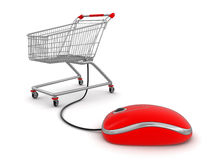 Shopping Cart  with computer mouse (clipping path included) Stock Photos
