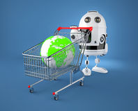 A shopping cart containing a globe. Gglobal market concept Royalty Free Stock Image