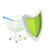 Shopping cart covered with shield isolated Royalty Free Stock Photos