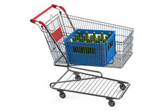 Shopping cart with crate beer Royalty Free Stock Photography