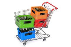 Shopping cart with crates beer Royalty Free Stock Images