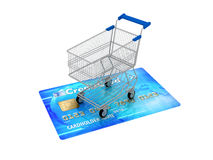 Shopping cart on credit card Royalty Free Stock Photography