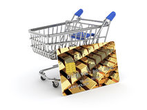 Shopping cart with credit card Royalty Free Stock Photography