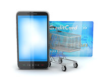 Shopping cart, credit card and cell phone. On white background Royalty Free Stock Photography