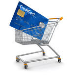 Shopping Cart and Credit Card (clipping path included) Stock Photos