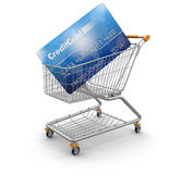 Shopping Cart and Credit Card (clipping path included) Royalty Free Stock Photos