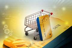 Shopping cart with credit card Stock Photo