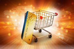 Shopping cart with credit card Royalty Free Stock Photo