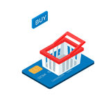 Shopping cart on credit card flat 3d isometric e-commerce business concept. Isometric Vector Illustration Royalty Free Stock Photography