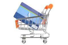 Shopping cart and credit card within isolated on white Stock Images