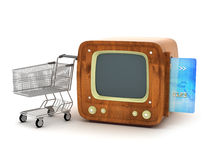 Shopping cart, credit card and retro TV Royalty Free Stock Image