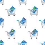 Shopping Cart and Credit Card Seamless Royalty Free Stock Photography