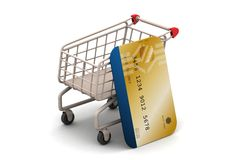 Shopping cart with credit card Stock Image