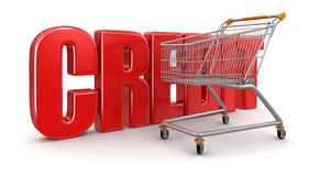 Shopping Cart and credit  (clipping path included) Stock Image