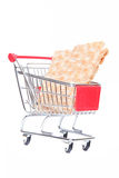 Shopping cart with crisp bread Stock Images